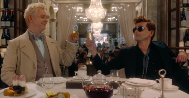 Good Omens wins the Hugo - Aziraphale and Crowley celebrate